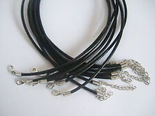 """20/100 Black Genuine Leather Necklace/Choker 3mm Cords,Chain for Pendant 13""""-24"""""""