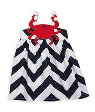 New Girls Boutique Mud Pie White Navy Red CRAB Chevron Dress Boathouse Baby NWT