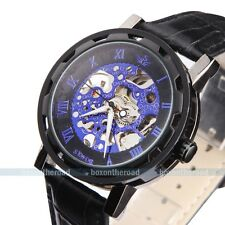 Sewor Army Classic Men's Black Leather Blue Dial Skeleton Mechanical Wrist Watch