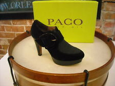 Paco Gil Black Suede Buckle Ankle Shootie Shoe NEW