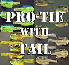 Pro-tie WITH TAIL. Bass jig, spinnerbait, buzzbait fishing lure skirts. Qty: 5