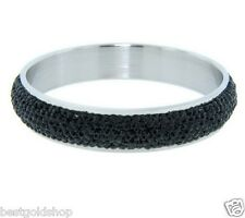 QVC Black Pave Crystal Round Band Bangle Bracelet Stainless Steel by Design
