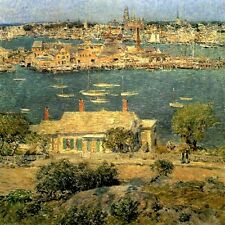 GLOUCESTER HARBOR MASSACHUSETTS IMPRESSIONIST PAINTING BY CHILDE HASSAM REPRO