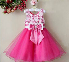 KIDS GIRLS SUMMER HOT PINK OCCASION/PARTY TUTU DRESS BRIDESMAID LACE AGE 2-8YRS