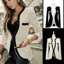 Plus Size 8-18 Ladies Women White Black Colors Slim Suit Blazer Coat Jacket Tops
