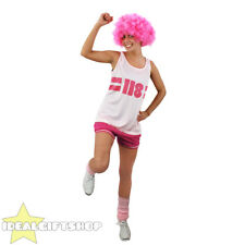 118 COSTUME LADIES PINK FANCY DRESS OUTFIT CHARITY RACE OUT FIT + AFRO WIG