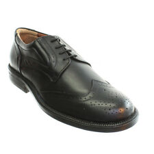 MENS BLACK LEATHER LACE UP BROGUE WORK OFFICE SMART LOAFER SHOES SIZE 6-12