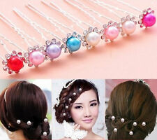 wholesale Wedding Bridal 6 x colour  Pearl Flower Hair Pin Hair Accessory