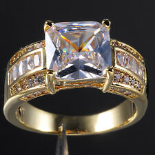 Size 9-13 Deluxe Mens Jewelry White Sapphire 10KT Yellow Gold Filled Huge Ring