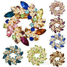 Gorgeous Ladies Womens Party Rhinestone Crystal Alloy Flower Bouquet Brooch Pin