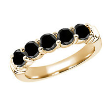 1.35 Ct Round Black AAA Diamond 925 Yellow Gold Plated Silver Ring