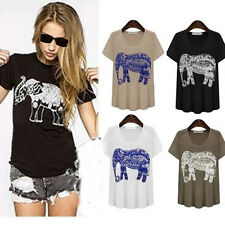 Sexy Elephant Animal Print Summer Cotton Casual Short Sleeve T Shirt Blouse Top