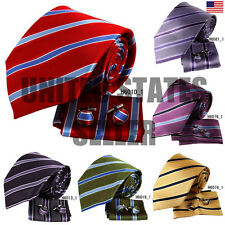 YAC2A14 Multiple Colors Elegant Presents Idea Stripes Silk Tie 3PT By Y&G