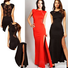 women's Lace Stitching Long Bodycon Sleeveless Split Side Evening Cocktail Dress