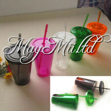 Smooth Iced Coffee Juice Plastic Drinks Cup With Straw Party Liquid Beaker Lid S