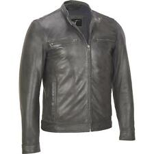 Black Rivet Distressed Open-Bottom Leather Jacket w/ Zippered Cuffs