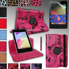 For GOOGLE NEXUS 7 (ASUS) 1st gen Rotating PU Leather Case Cover + Accessories