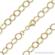 925 Italy Sterling Silver 14k Yellow Gold Plated 6.4mm Cable Link Chain Necklace