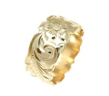 14K YELLOW GOLD HAND ENGRAVED HAWAIIAN PLUMERIA SCROLL BAND RING CUT OUT 10MM