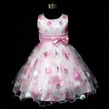 P3211UK Christmas Bridesmaid Party  Pink Flower Girls Dresses Age 3,4,5,6,7,8 Y