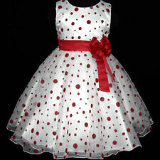UK3117 Red Christmas Bridesmaid Party Flower Girls Dress Age 2,3,4,5,6,7,8,9,10