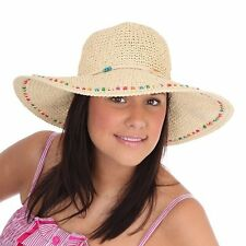 Ladies Girls Wide Brim Summer Sun Hat Packable & Crushable with beaded trim