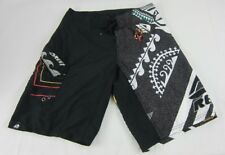 Mens NWT Reef Board Shorts Drawstring Swim Trunks Velcro Pocket Black Size 30 36