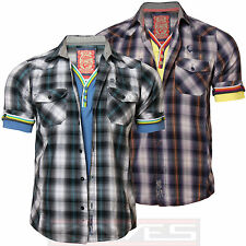 Mens Check Shirt with Double Front Layer Tokyo Laundry MH 25286 Short Sleeves