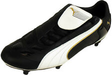 Mens Boys Puma V Kon II SG Soft Ground Football Boots Black Leather Soccer Boot