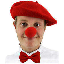 3 PIECE COMIC SET RED BERET HAT + BOW TIE + SPONGE NOSE FRENCH CLOWN PARTY STAG