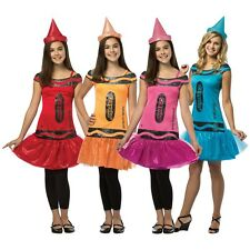 Crayola Crayon Costume Teen/Tween Funny Girls Group Halloween Fancy Dress