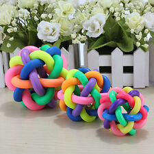 Pets Dog Puppy Cat Rainbow Colorful Rubber Bell Sound Ball Playing Fun Chew Toy