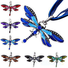 Retro Lady Dragonfly Charms Necklace Chain Rhinestone Inlay Gemtone Pendant Gift