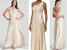 $535 Sue Wong One Shoulder Beaded Embroidered Drop Waist Champagne Dress Gown