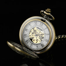 PACIFISTOR Mens Antique Vintage Steampunk Mechanical Pocket Watch Chain Pendant