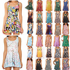 New Womens 3D Graphic Printed Cartoon Animate Chic Skater Two Way Singlet Dress