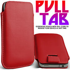 RED PREMIUM LEATHER PULL TAB CASE COVER POUCH FOR VARIOUS HANDSETS