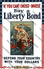 "Vintage Wartime Poster WW2 ""Buy Liberty Bonds, Defend Your Country"" re-print"