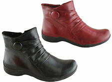 PLANET SHOES SHANI WOMENS/LADIES LEATHER COMFORT ANKLE SIDE ZIP BOOTS/CASUAL