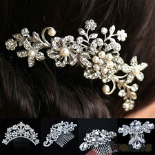 SWEET CRYSTAL FLOWER HAIR COMB RHINESTONE PEARLS HAIR CLIP BRIDAL JEWELRY BF2K