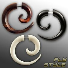 FAKE PIERCING SPIRAL HORN BONE tunnel plug earring black white expander jewelry