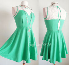 NEW Love Culture Emerald Mint Green Floral Lace Inset Fit & Flare Skater Dress