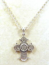 Sterling Silver Dagmar Cross Pendant on a Sterling Silver Rolo Chain Necklace