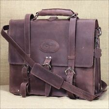 GLANOR TOUGH RUSTIC CHESTNUT BROWN VINTAGE LEATHER BRIEFCASE BACKPACK LAPTOP BAG