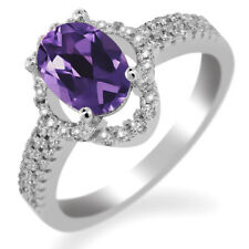 1.69 Ct Oval Purple Amethyst 925 Sterling Silver Ring