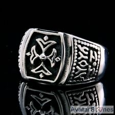 Men's Rocker Cowboy Biker Bling 316L Stainless Steel Fleur de Lis Ring R4V34