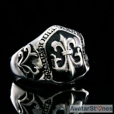 Men's Rocker Cowboy Biker Bling 316L Stainless Steel Fleur de Lis Ring R4V64