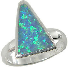 Sterling Silver Ring Triangular Blue Lab Created Opal Inlay 2637/OP