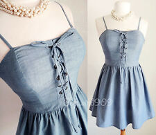 NEW Light Denim Wash 100% Cotton Laced Up Bustier Fit & Flare CUTE Sun Dress