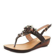 WOMENS WHITE FAUX LEATHER DECORATIVE FLOWER TOE POST WEDGE SANDALS SHOES SIZE